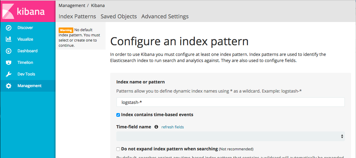 kibana configure index pattern