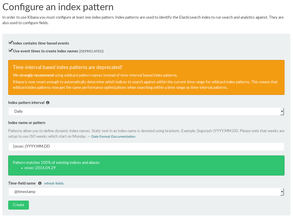 kibana configuration index pattern ossec alerts