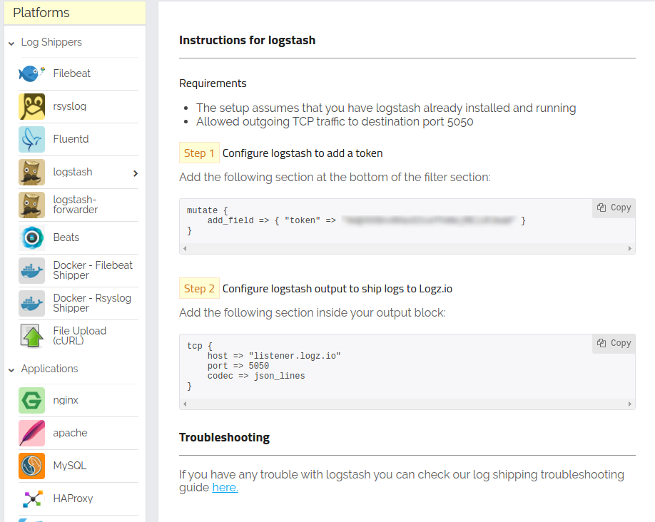 The Logstash shipping page for Logz.io, for MongoDB logs and metrics