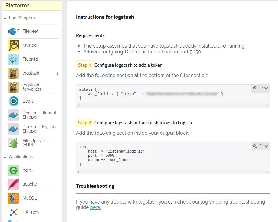 logstash shipping page