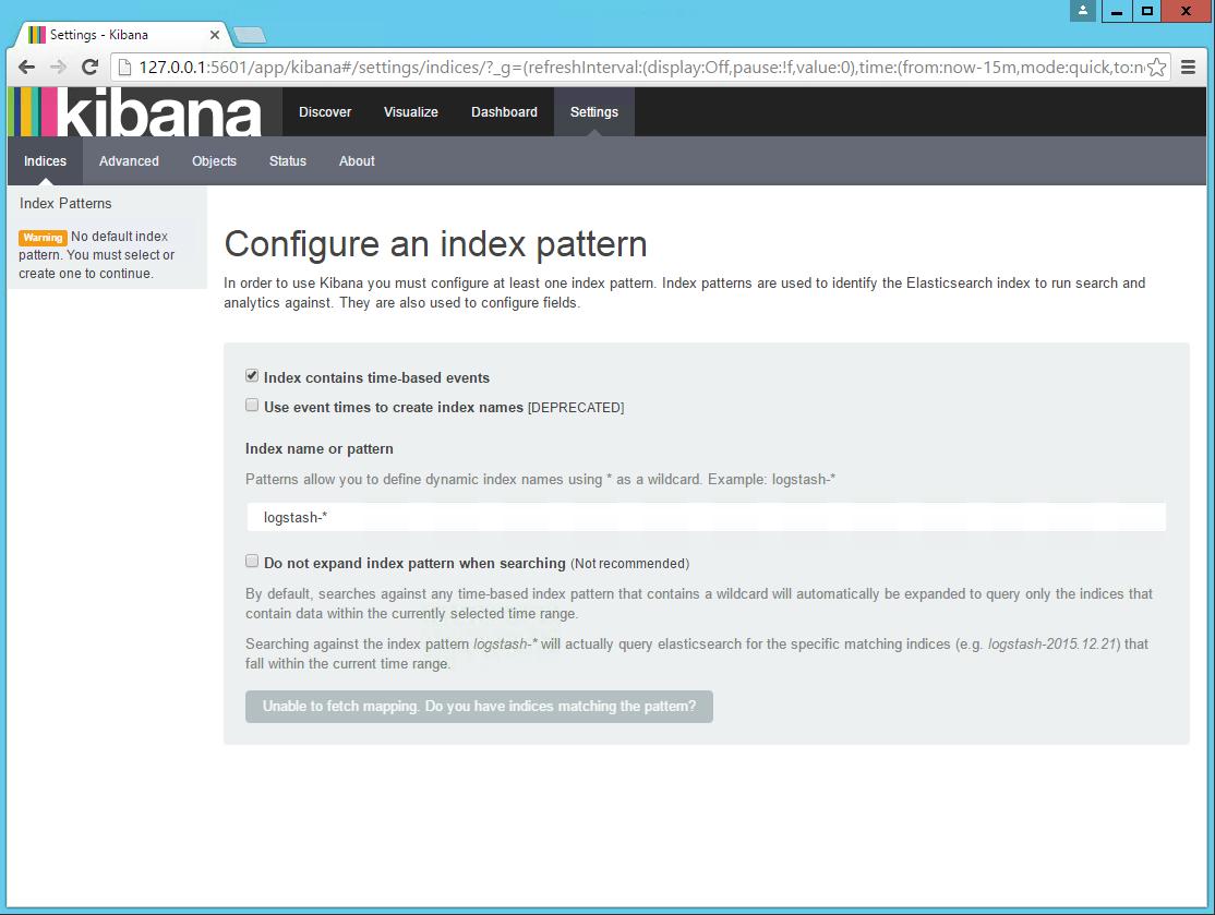 Kibana open in browser