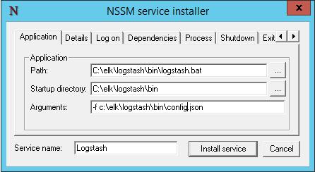 NSSM service installer for Logstash