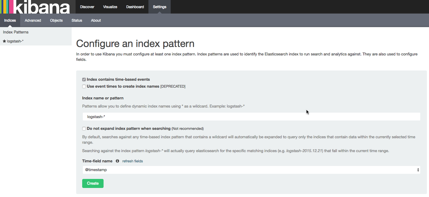 configure kibana index pattern