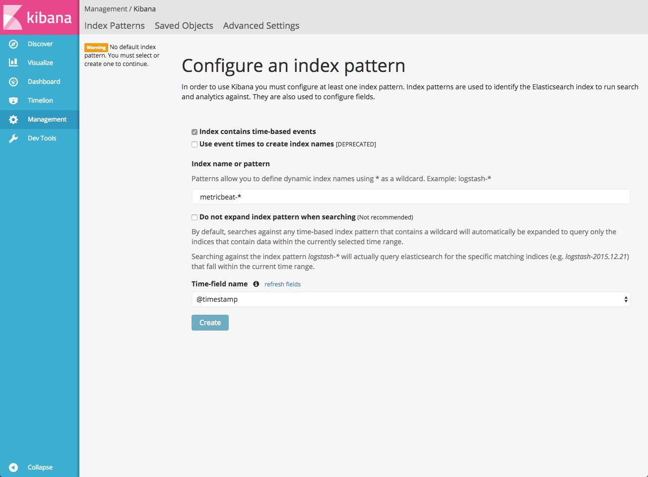 configure index pattern kibana