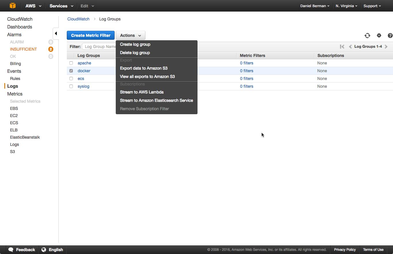 export cloudwatch data to aws s3