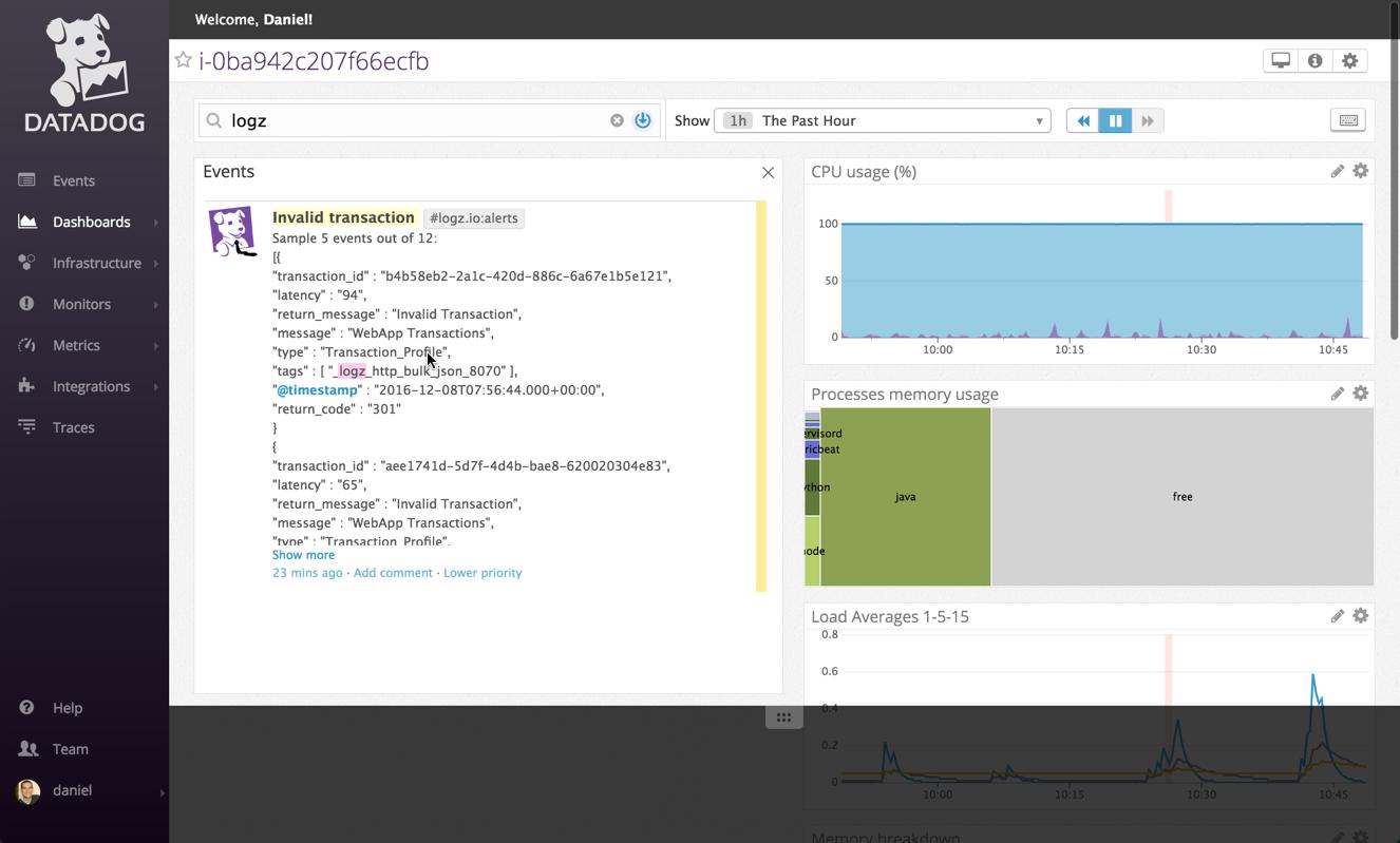 show alert in datadog dashboard