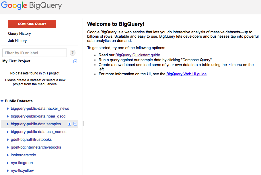bigquery welcome page
