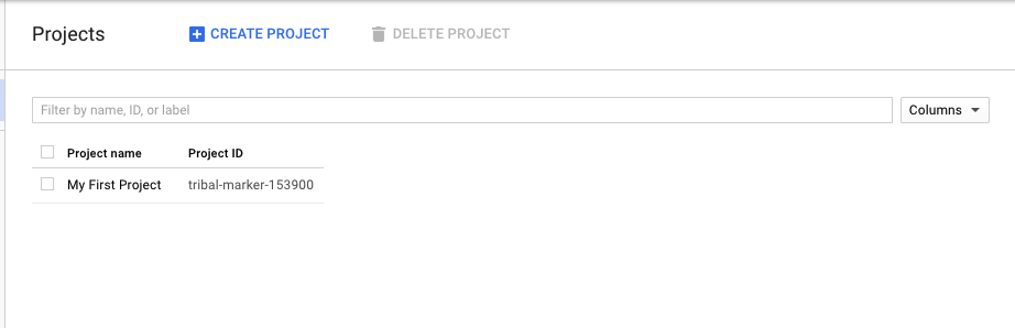 project page on google cloud