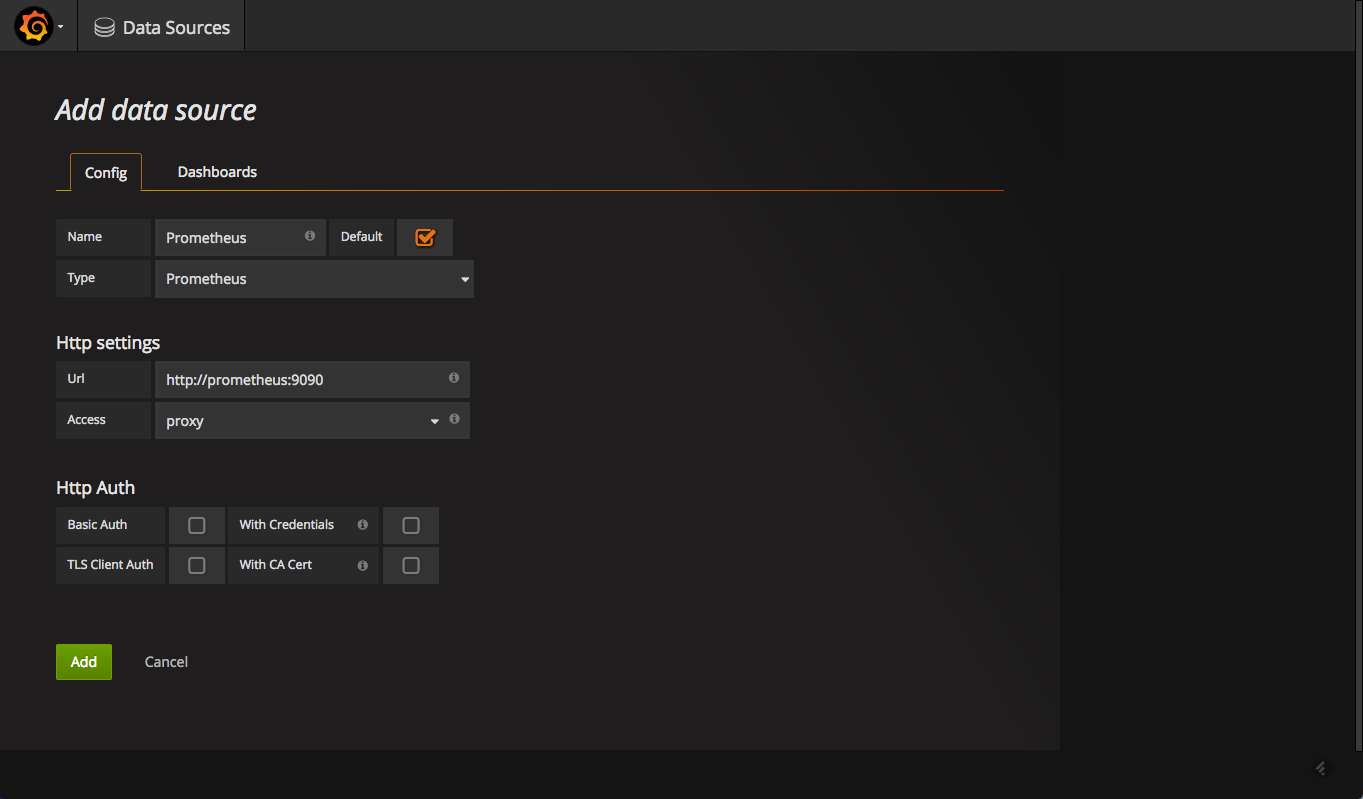configuration to add prometheus in grafana