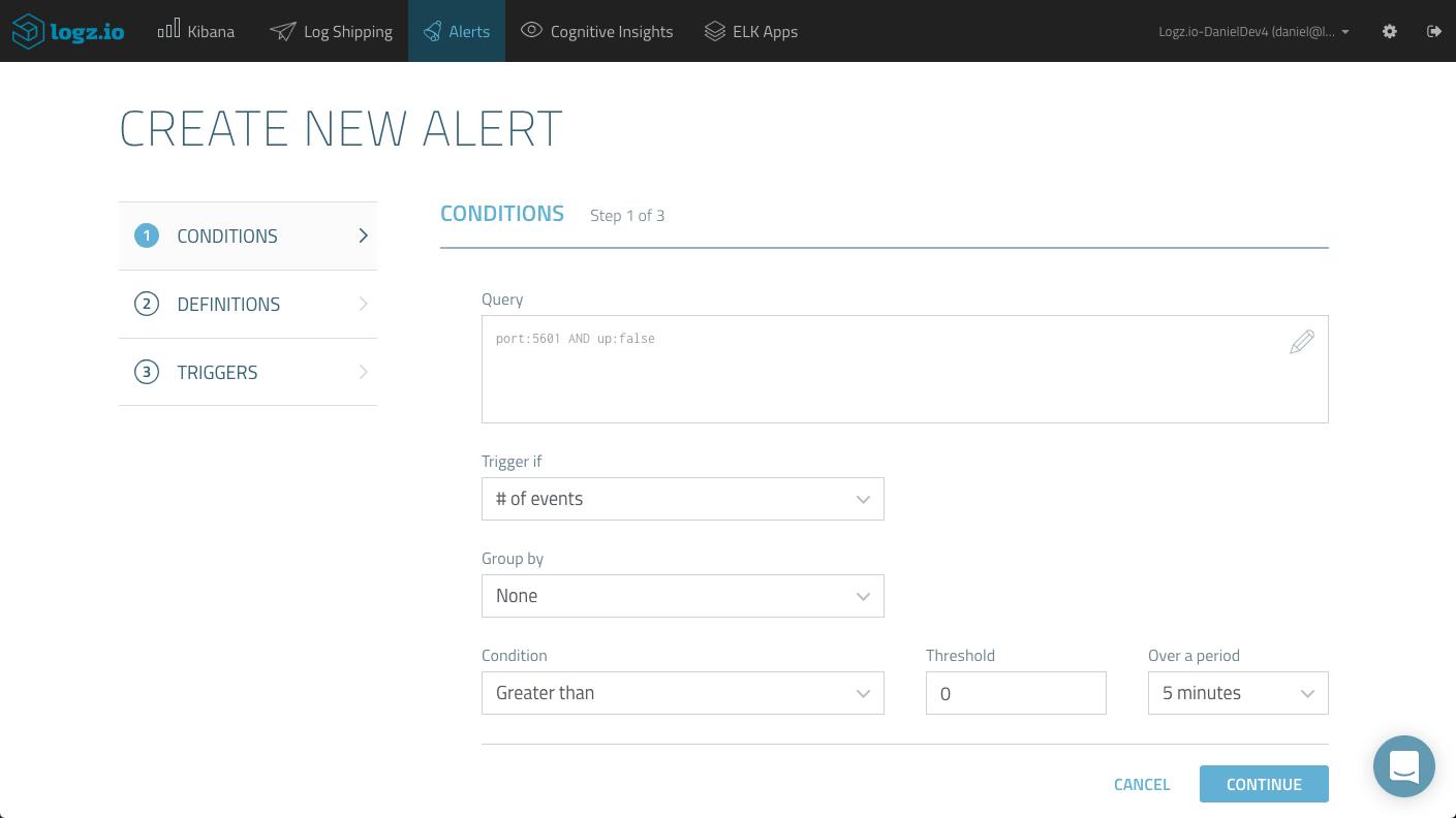 create service uptime alert