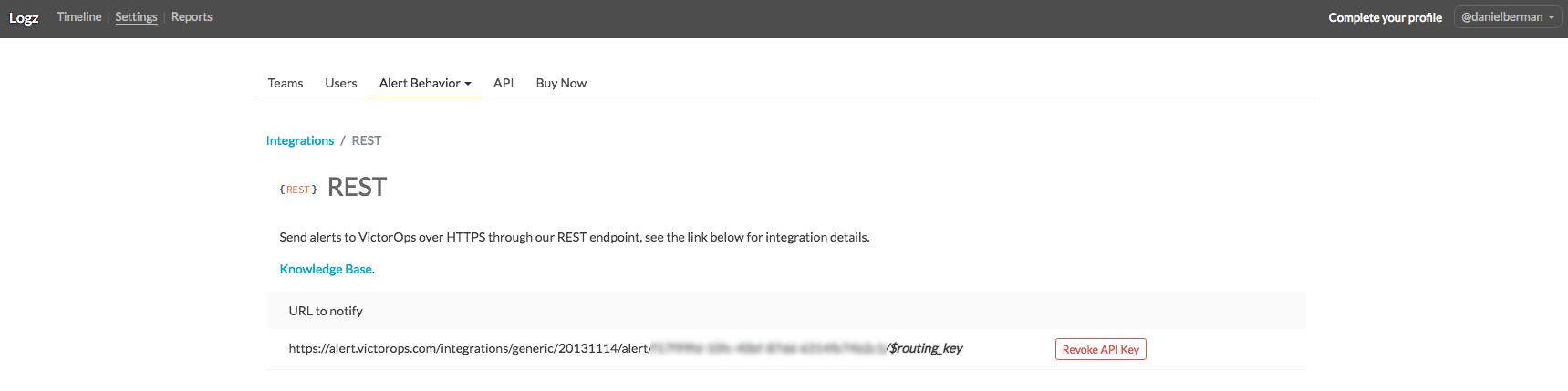 retrieve rest url with integration key