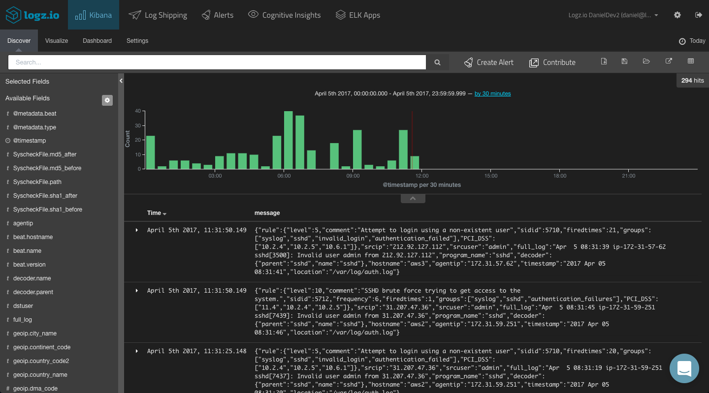 data streaming into kibana