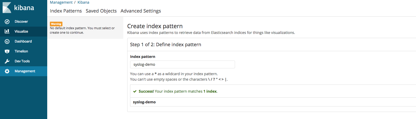 create index pattern
