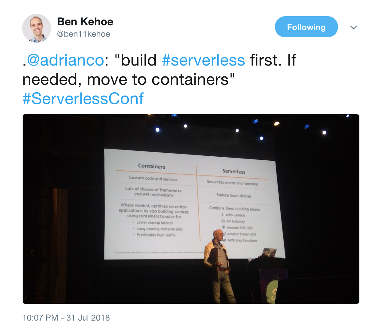 containers vs serverless